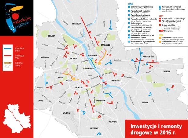 Mapa inwestycji drogowych UM Warszawa
