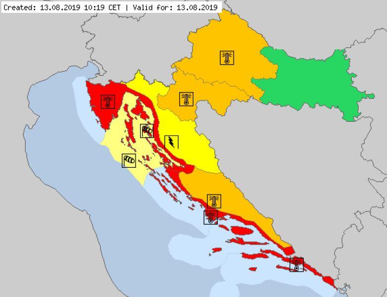 Aktualne ostrzeżenia meteorologiczne w Chorwacji (za meteoalarm.eu)