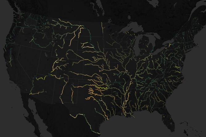 Mapa rzek w Stanach Zjednoczonych wykonana ze zdjęć zrobionych przez satelitę Landsat w latach 1984-2018 (NASA)