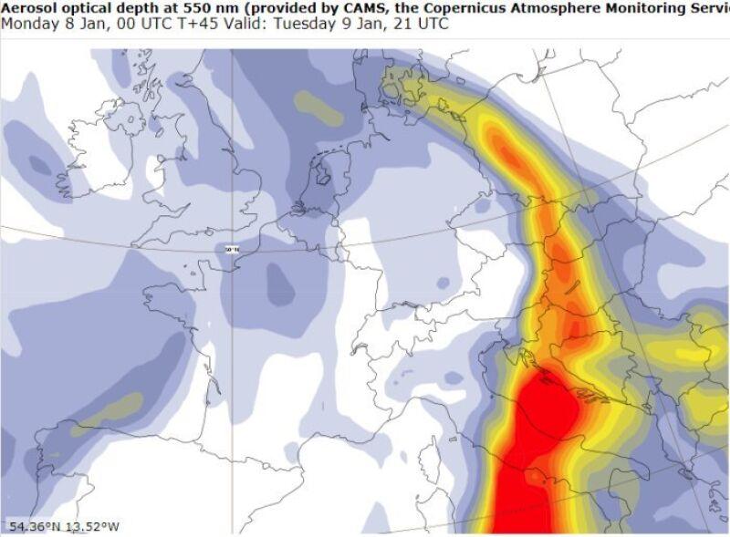 Chmura pyłu znad Sahary (Copernicus Sentinel Atmosphere Monitoring Service)