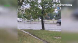 Zalane ulice w Łodzi po ulewie