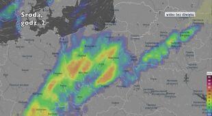 Opady deszczu w ciągu najbliższej doby (Ventusky.com) | wideo bez dźwięku